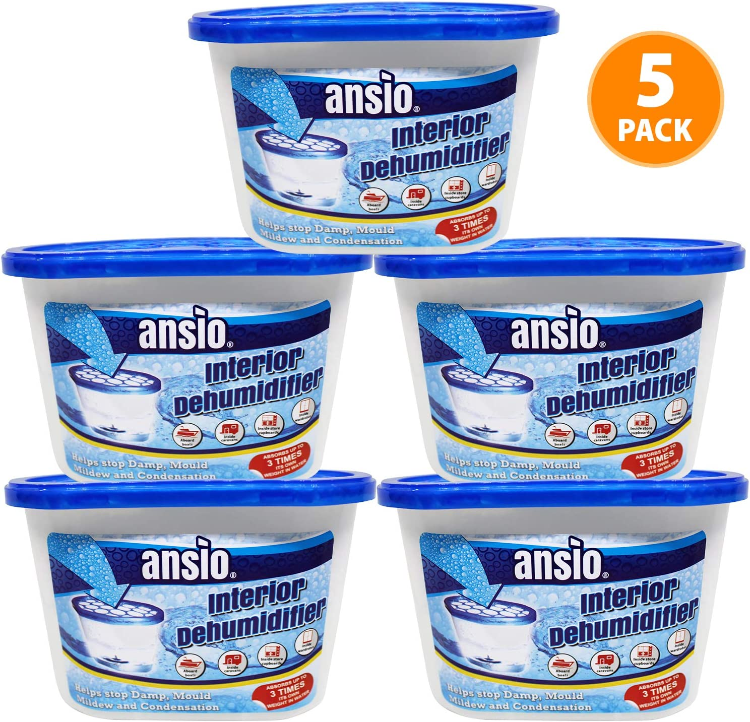 ANSIO Interior Dehumidifier Condensation Remover Moisture Absorber Dehumidifiers for Damp Mould Moisture in Home Caravan Office Garage 500ml Pack of 80