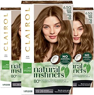 Clairol Natural Instincts Semi-Permanent, 6.5G Lightest Golden Brown, Amber Shimmer, Pack of 3