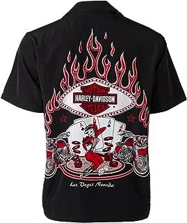 Las Vegas Cafe Poker Babe and Flames Biker Shirt