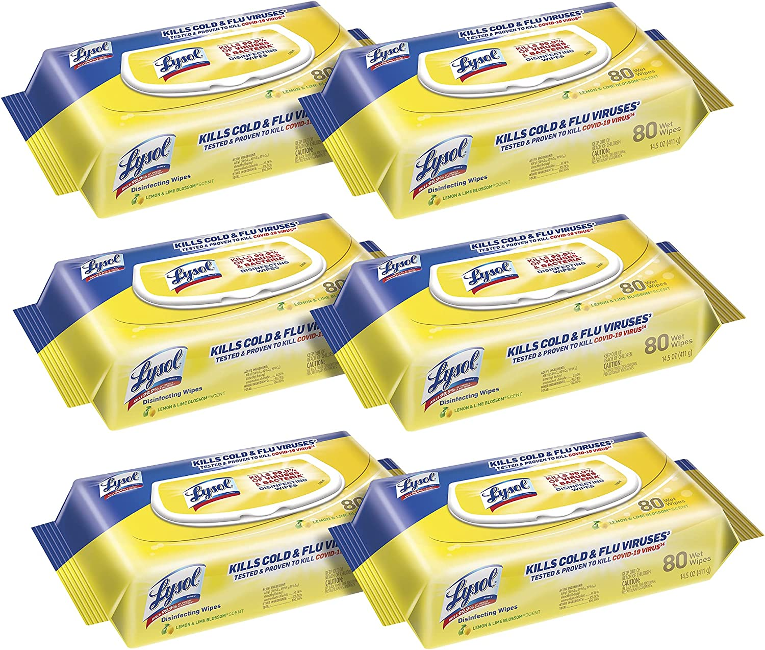 Amazon Com Lysol Disinfecting Handi Pack Wipes Lemon And Lime Blossom 480 Count Pack Of 6 Packaging May Vary Health Personal Care