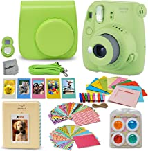 Fujifilm Instax Mini 9 Instant Fuji Camera (Lime Green) + Accessories Bundle + Custom Matching Case w/Neck Strap + Photo Album + Assorted Frames + 4 Color Filters + 60 Sticker Frames + More