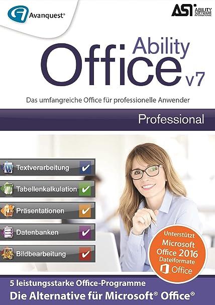 Ability Office 7 Professional Die Abo Freie Und Leistungsstarke Office Alternative 2016 Und Fruher Fur Professionelle Anwender Microsoft 10 8 7 Vista Download Amazon De Software
