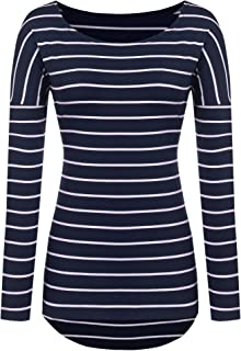 Long Sleeve Striped T Shirt Tunic Tops for Leggings for Women