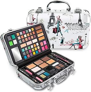 Vokai Makeup Kit Gift Set - Paris Travel Case 41 Eye Shadows 4 Blushes 5 Bronzers 7 Body Glitters 1 Lip Liner Pencil 1 Eye Liner Pencil 2 Lip Gloss Wands 1 Lipstick 5 Concealers 1 Brow Wax 1 Mirror