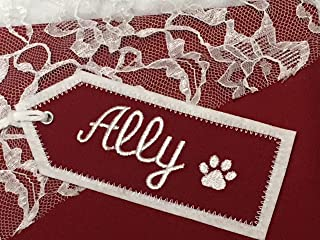 Personalized Cat Embroidered Christmas Stocking Name Tag, Pet Name Tag, Fabric Embroidered Gift Tag