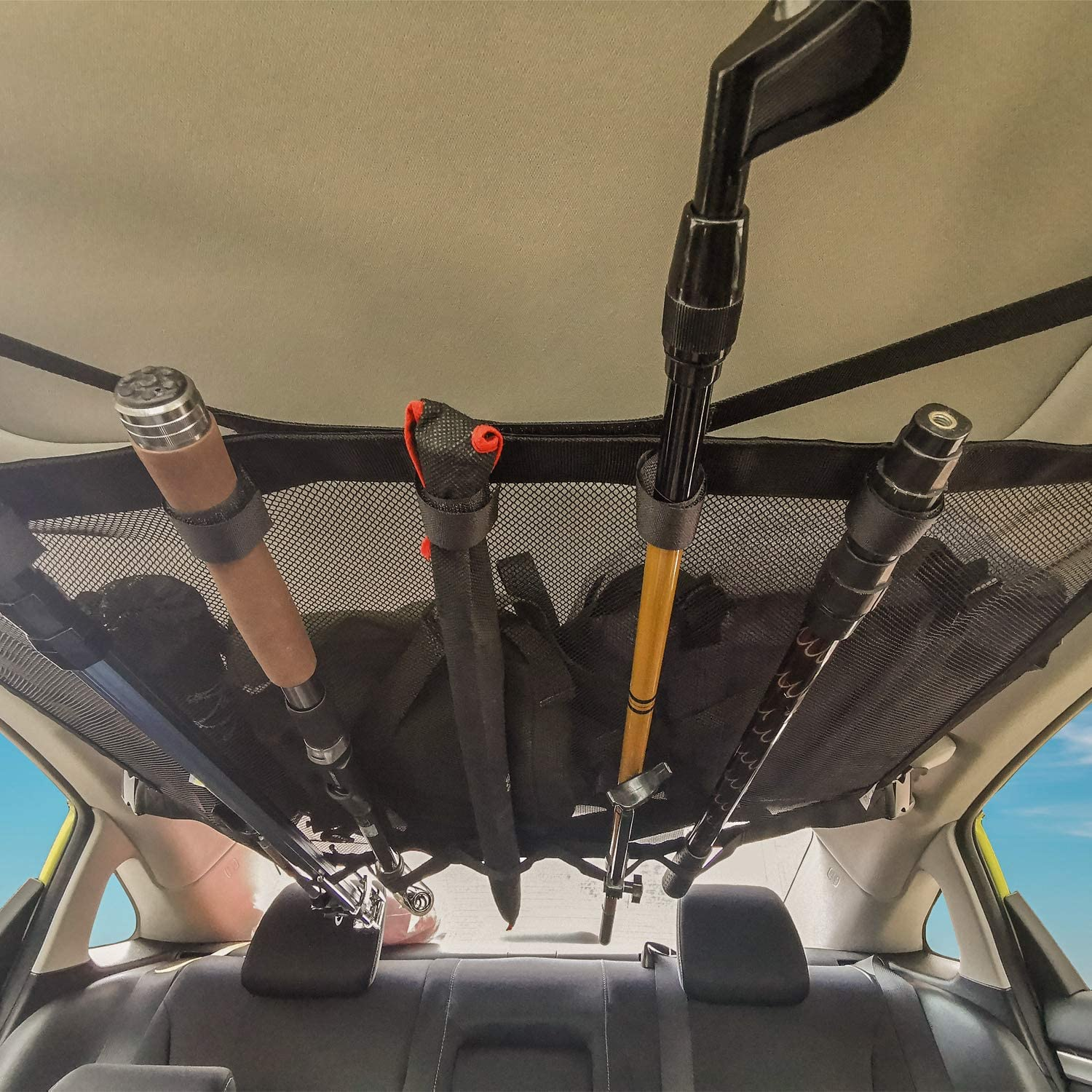 MDSTOP/SUV/Ceiling/Storage/Net/with/Fishing/Rod/Holder,/Interior/Car/Roof/Rack/Mesh/Storage/Rack/Polyester/Mesh/Sundries/Organizers/for/Long/Trave