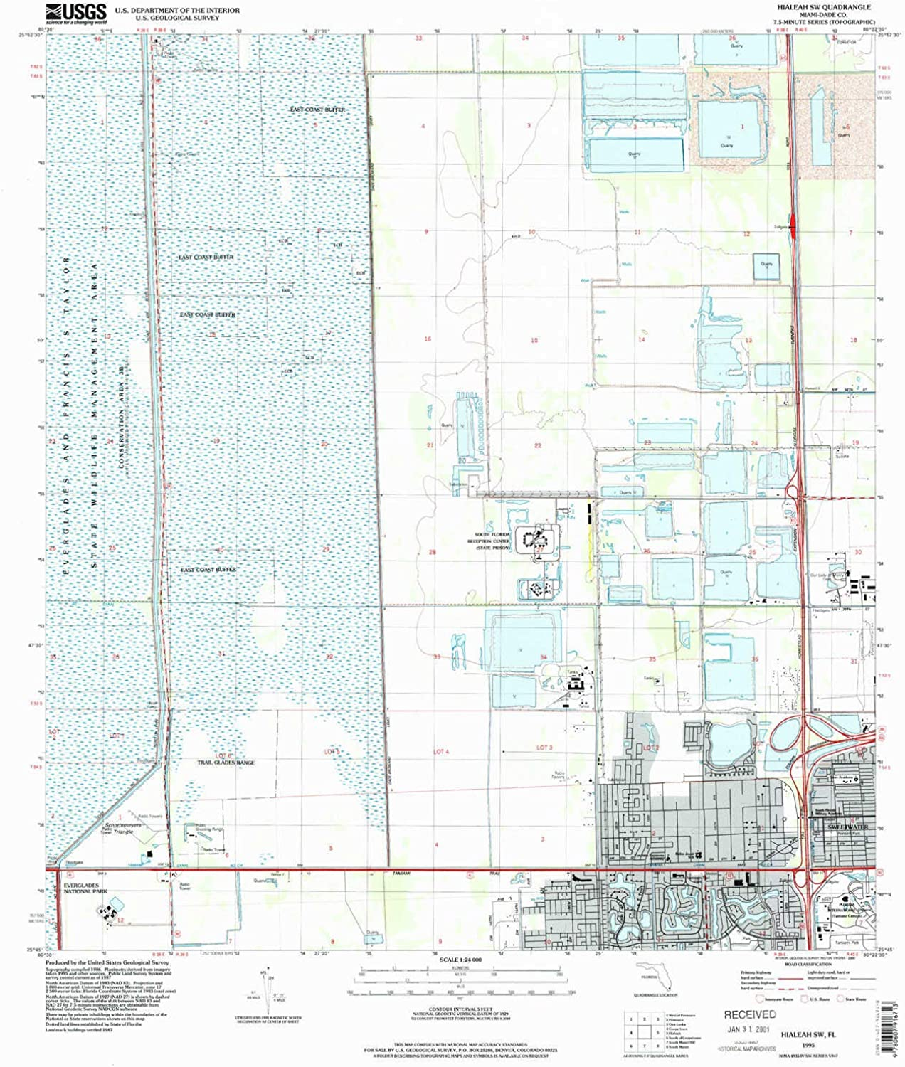 Hialeah SW FL topo map, 1 24000 Scale, 7.5 X 7.5 Minute, Historical, 1995, Updated 2000, 26.8 x 23 in