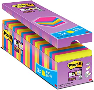 Post it Notes Super Sticky Notes Value Pack, 76 x 76 mm, Assorted Colours, Pack of 24 (90 Sheets Per Pad)
