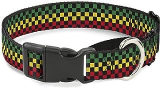 "Buckle Down Checker Black/Rasta Martingale Dog Collar 1"" Wide - Fits 15-26"" Neck - Large MGC-W30342-L"