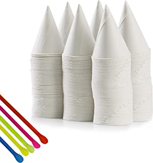 Snow Cone Cups and Spoon Straws, 400, 4 oz Snow-Cone Cups and 400 Straws