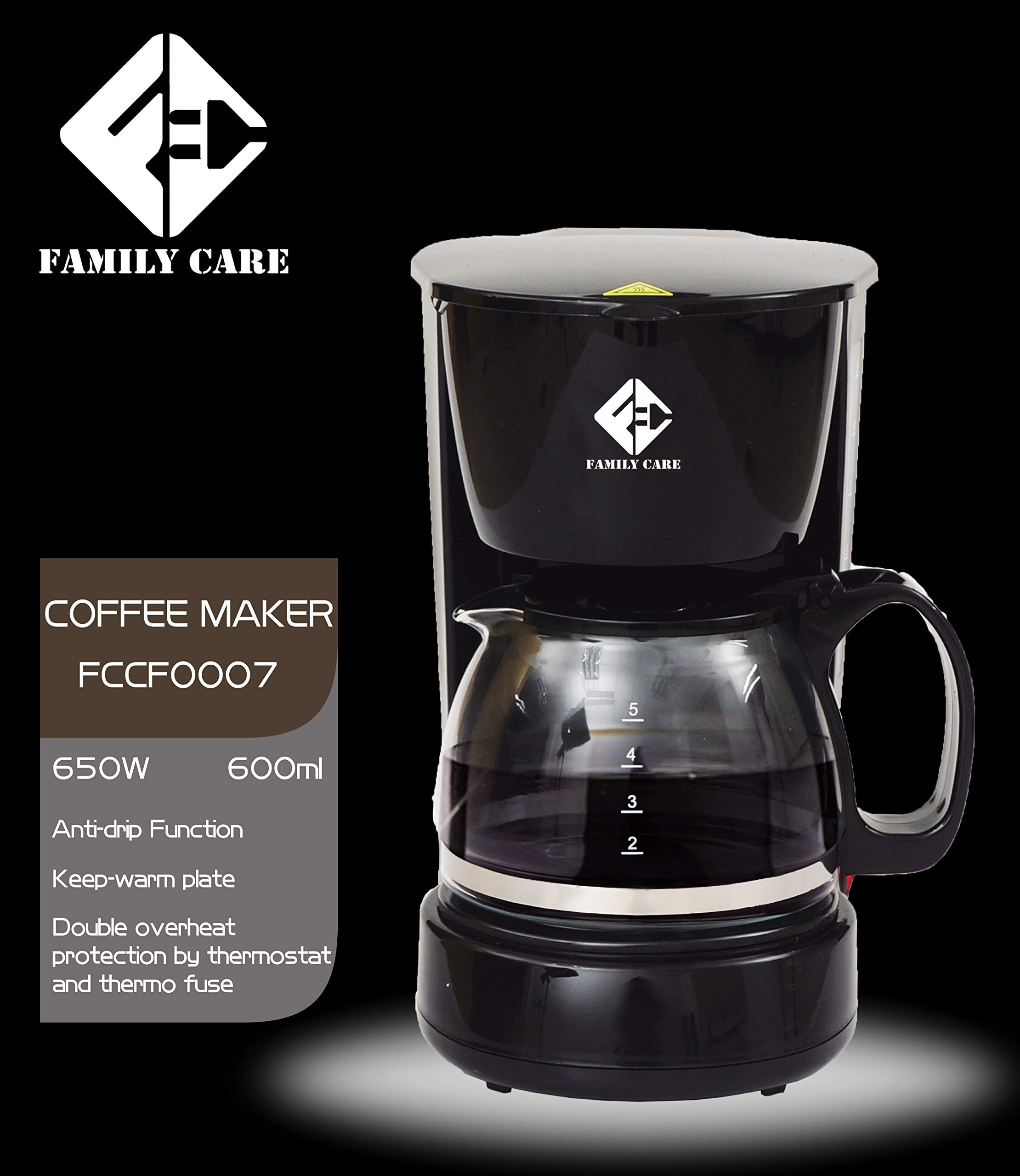 Family Care Cafetera de Goteo, cafetera eléctrica, Jarra 0.6 ...