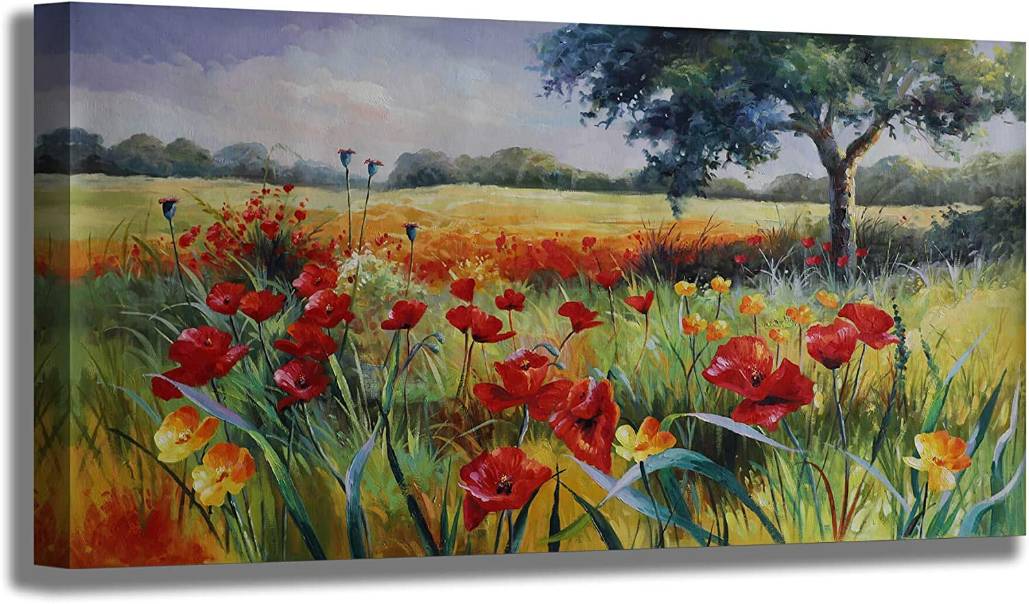 Wall Decor for Special Large discharge sale price Living Room Large Trees Green Art Red Yellow