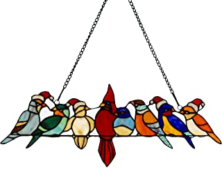 River of Goods Holiday Santa Birds on a Wire 23 Inch Wide Stained Glass Window Panel, Red White Blue