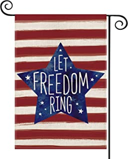 AVOIN Patriotic Watercolor Stripes Star Let Freedom Ring Garden Flag Double Sided, 4th of July Memorial Day Independence D...