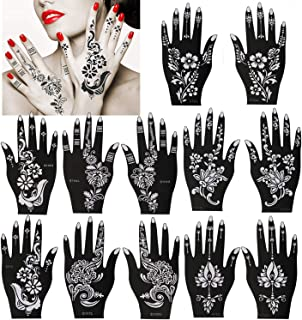 Konsait Pack Of 12 Henna Tattoo Stencil Templates Henna Hand Temporary Tattoo Kit, Indian Arabian Self Adhesive Tattoo Sticker for Hand Body Art Paint for Adults Women Teenager Girls