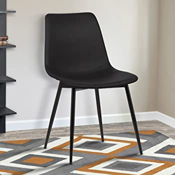 Armen Living Monte Dining Chair in Black Faux Leather and Black Powder Coat Finish