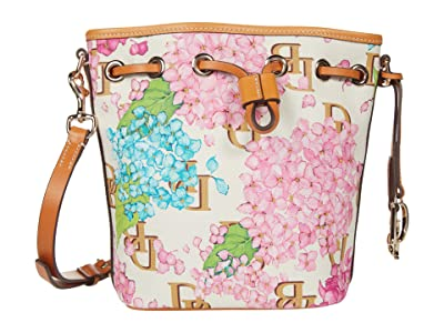 Dooney & Bourke Hydrangea Monogram Small Drawstring (Cream) Handbags