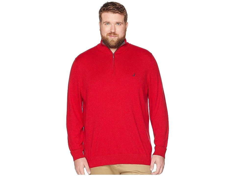 Nautica Big & Tall Big Tall 1/4 Zip Mock Neck (Nautica Red) Men