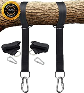 Tree Swing Straps Hanging Kit 5ft Set of 2 Outdoor swing tie gear with HEAVY DUTY NICKEL PLATED hardware and hangers, Break Strength of 2000 LBS, Easy Installation for Toddler Outdoor Playgro