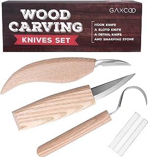 Wood Carving Tools Kit | Sloyd, Hook, Detail Knives | Hardwood Handle Grips Carbide..