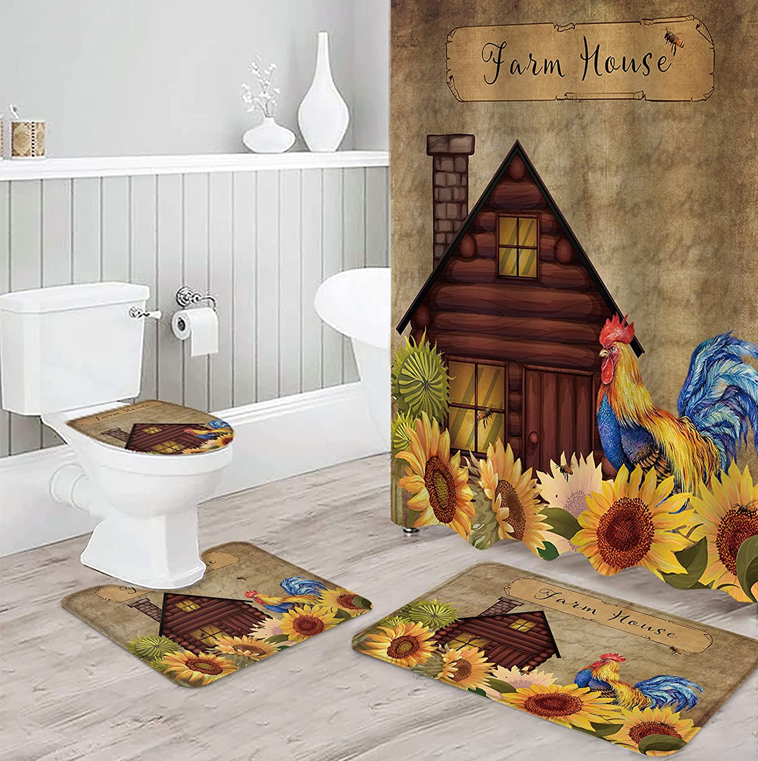 Very popular LBHAUSE 4Pcs Shower Curtain Set High quality new Non-Slip Toilet with Mats Rugs