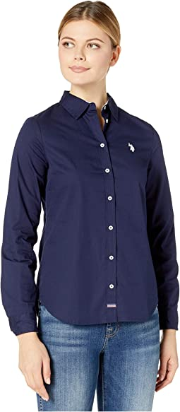 Long Sleeve Solid Stretch Poplin Shirt