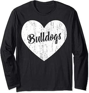 Bulldogs School Sports Fan Team Spirit Mascot Heart Gift Long Sleeve T-Shirt