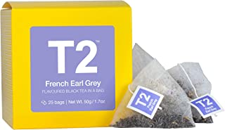 T2 Tea - French Earl Grey Black Tea, Tea Bags in a Box, 50g (1.7oz), 25 Tea Bags