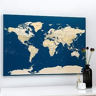 Cartina Del Mondo Con Puntine - Stampa su Tela - Regalo per il Viaggiatore - 3 Dimensioni: 100x70 cm / 120x80 cm / 150x100...