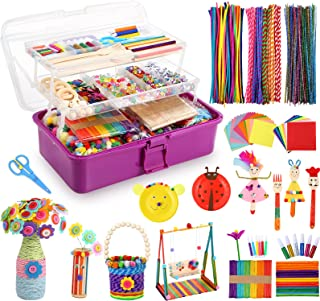 Caydo 3000 Pcs Kids Art and Crafts Supplies, Toddler DIY Craft Art Supplies Set Include Pipe Cleaners, Pom Poms, Portable ...