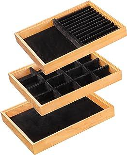صواني من خشب الكرز، يمكن تكديسها من كريس آرت، منظم أدراج للمجوهرات والاكسسوارات والأدوات، صندوق حامل عرض التخزين، مجموعة م...