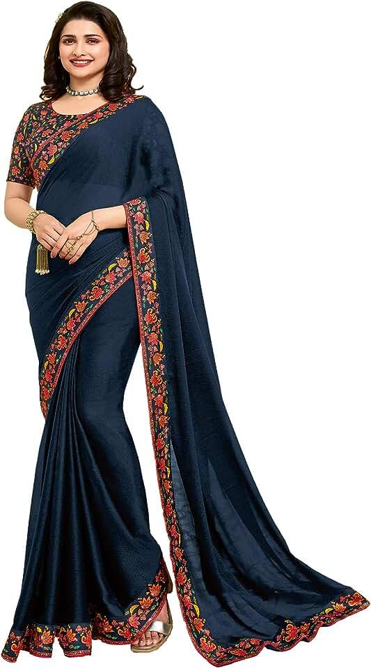 Indian Macube Women's Chanderi Silk Printed Saree Jacquard Lace Border Work Saree For Women Offer Designer Under 799 Rupee Trendy... Saree