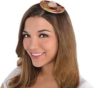 Amscan 250666 Mini Sombrero Hair Clip party-supplies, 4 x 4 inches, Multicolored