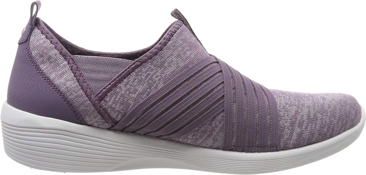 Skechers Arya - Cross-fire, Baskets Enfiler Femme Violet Plum Heather Knit Mesh Durabuck Gray Trim Plum