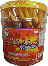 Jabalina Xtreme Large 50 piece Container of Hot Tamarind Flavored Sticks candy(Palitos Con Tamarindo) Pinatera Mexican candy classical party snacks straws popotes enchilados Michelada