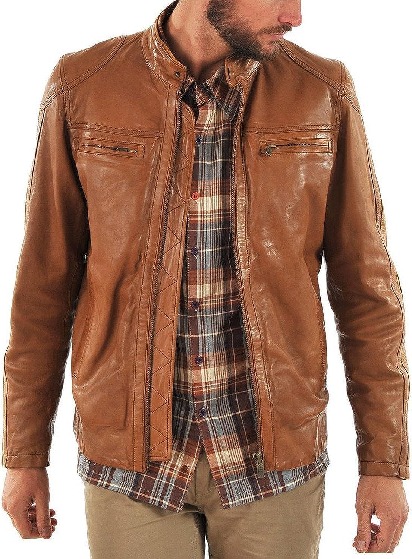 New Men Quilted Leather Jacket Soft Lambskin Biker Bomber LFM767