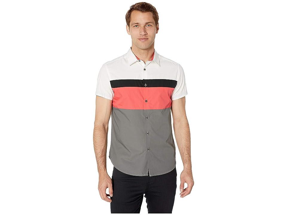 Kenneth Cole New York Short Sleeve Color Block Logo Shirt (Cayenne) Men