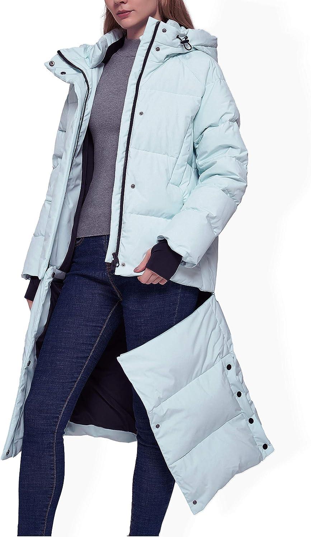 YISEVEN Women's Lightweight Waterproof Detachable Thickened Down Jacket Hooded