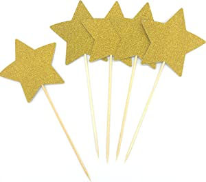 TooMeeCrafts Double Sided Gold Glitter Star Cake Topper for Twinkle Twinkle Little Star Baby Shower Theme Decoration Pack of 12