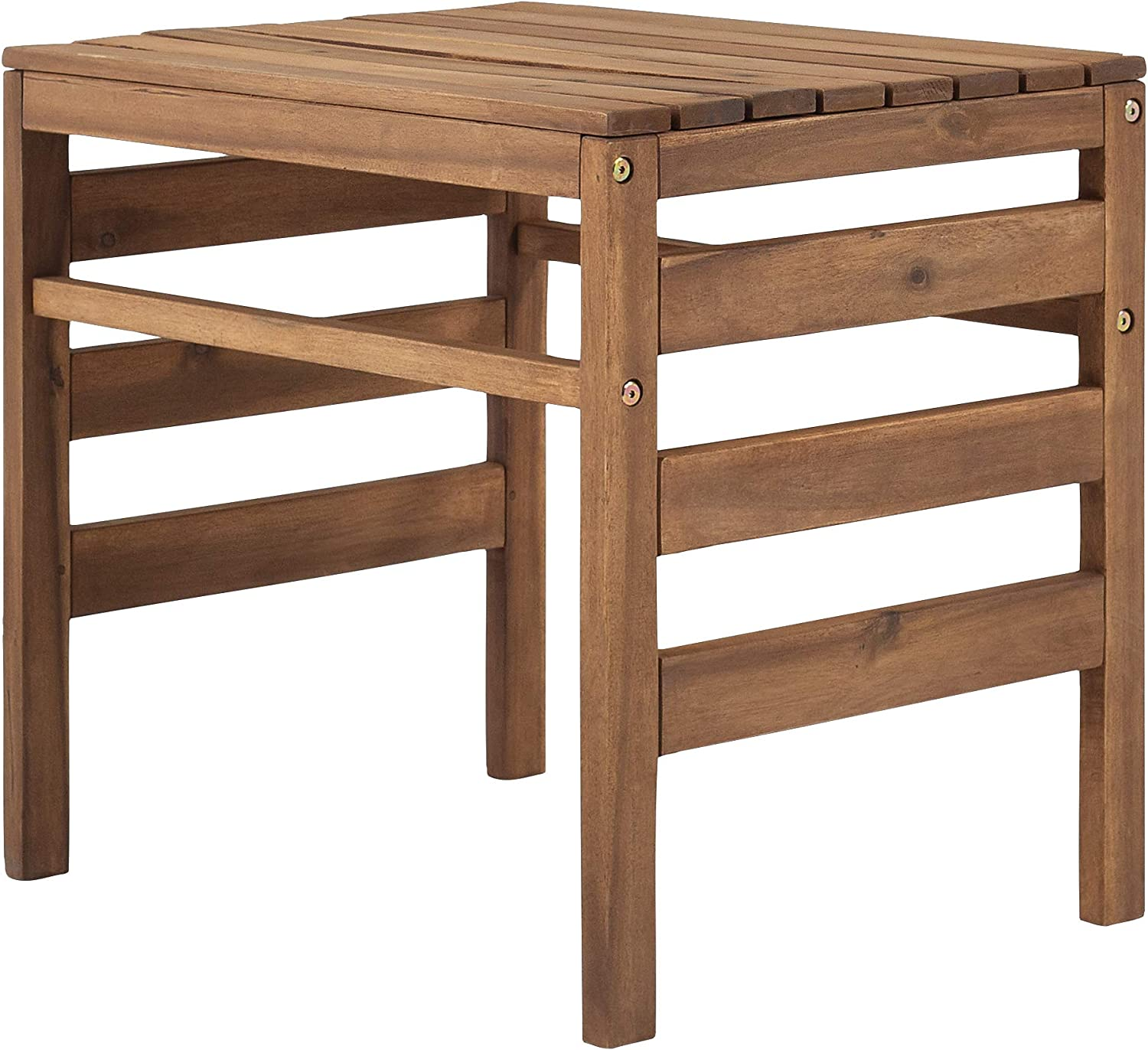 Walker Edison Ravello Contemporary Acacia Wood Slatted Patio Side Table, 18 Inch, Brown