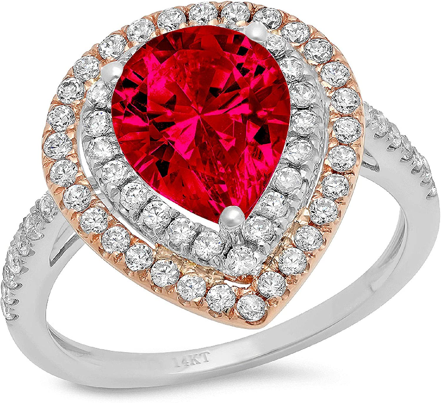 2.66 ct Pear Cut Double Halo Solitaire with Accent Flawless Pink Tourmaline Ideal Engagement Promise Statement Anniversary Bridal Wedding Designer Ring 14k 2 tone Gold