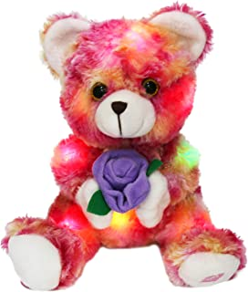 Bstaofy LED Teddy Bear Plush with Purple Rose Light up Stuffed Animals Glow in Dark Ideal Gifts for Girlfriend Kids Baby Girls, 9 Inch