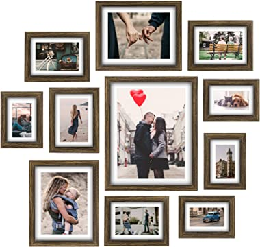 Homemaxs Picture Frames Collage Set - 11 Pcs Rustic Wooden Photo Frame Gallery Wall Frame Set for Tabletop or Home Decor With
