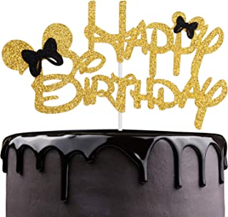 Mickey Happy Birthaday Cake Topper - Celebrate Baby Shower Kids Birthday Party Décor - Adorable Disney Theme Gold Glitter Mouse Ear Decoration