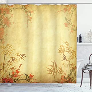 Ambesonne Bamboo Shower Curtain, Bamboo Stems and Blooming Flower Antique Grunge Background Oriental Artwork, Cloth Fabric Bathroom Decor Set with Hooks, 84