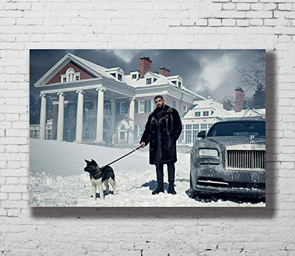 Drake And Dog Snow Hip Hop Rap Music Star LW Canvas Poster No Frame 36 X 24 Horizontal