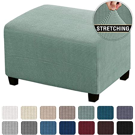 Rectangle Footstool Cover with Elastic Bottom Non-Slip Washable Ottoman Furniture Protector for Pet Child-blue-long27-42in,Width:20-30in HUANXA Stretch Ottoman Slipcover