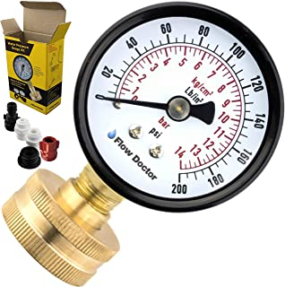 "Flow Doctor Water Pressure Gauge Kit, All Purpose, 6 Parts Kit, 0 to 200 Psi, 0 to 14 Bars, Standard 3/4"" Female Garden Ho..."