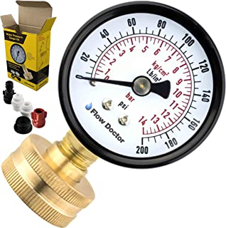 Flow Doctor Water Pressure Gauge Kit, All Purpose, 6 Parts Kit, 0 To 200 Psi, 0 To 14 Bars, Standard 3/4