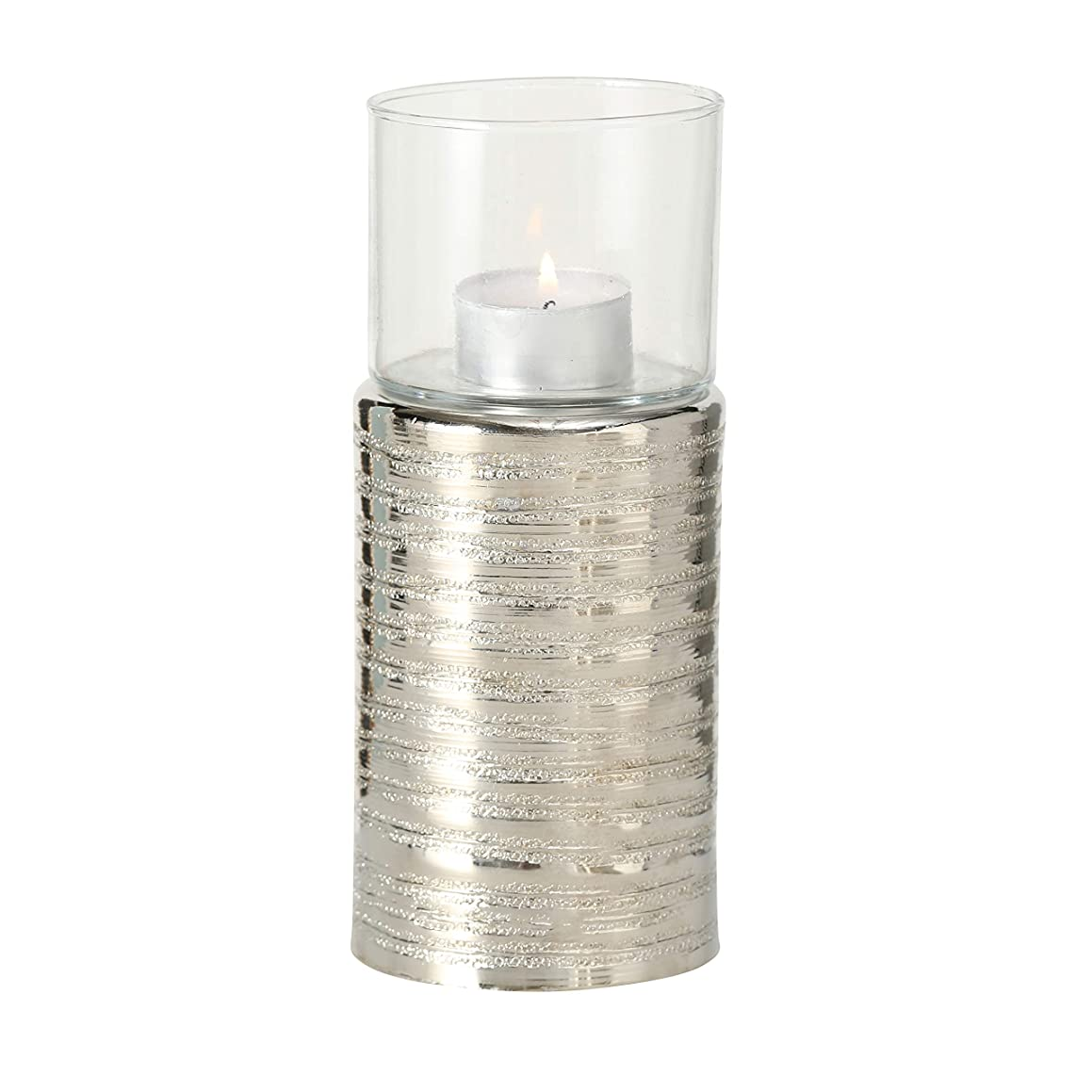 Silver Shimmer Pedestal Tea Light Candle Holder, Luxurious Hotel Style, Glass Sleeve, Textured Metal Base, 7 1/2 Inches Tall, Hammered Aluminum, Exquisite Stacked Ripple-Ring Pattern